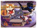 Three Cats by Pocketowl