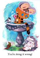 Tigerbuttah and the Bird Bath by Pocketowl