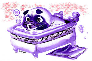 Pug in a tub by Pocketowl