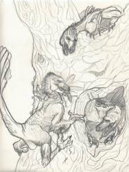 Raptor Nest Sketch by UnicornSpirit