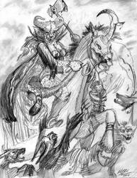 Khajiit Slaying Wolves (Skyrim) by UnicornSpirit
