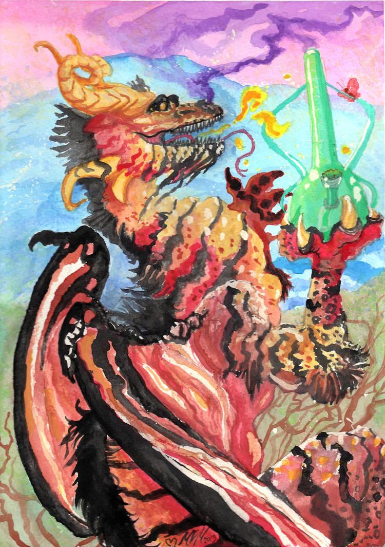 Fantasy Dragon 420 Watercolors by UnicornSpirit