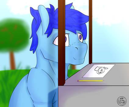 Pony drawing pony by LuckyStri