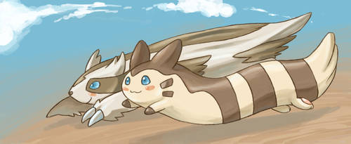 Linoone and Furret by Endless-Void