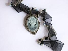 Black Organza-Pearls Necklace by Aranwen