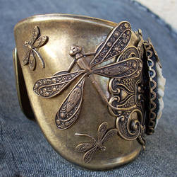 Dragonflies and Flowers cuff 1 by Aranwen
