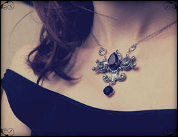 Amethyst and Black Crystal Necklace by Aranwen