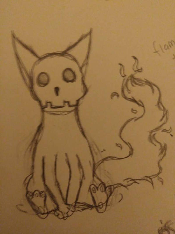 Skelecat with flametail by TheWeirdMaddie