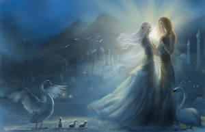 Alqualonde - Earwen and Finarfin by alystraea