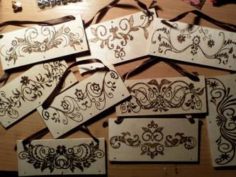 Pirography - door decorations by TamaraFaith