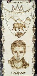 Character from my novel with pyrography by TamaraFaith