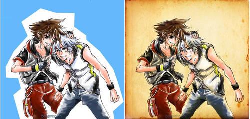 KH Fanart Comission - Sora teased Riku by BonBonPich