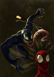 Spiderman vs Venom by nevreme