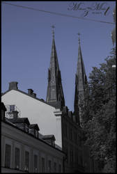 Uppsala Cathedral peeking through [Uppsala Series] by iMehnaz