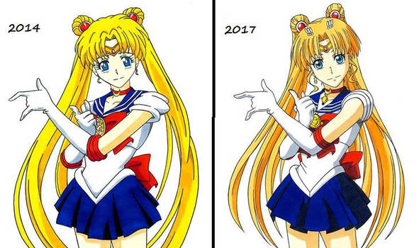 Sailor Moon -- Art-Style Change Comparison by OneColoredLily