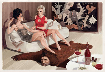 Talking over a bear by Waldemar-Kazak