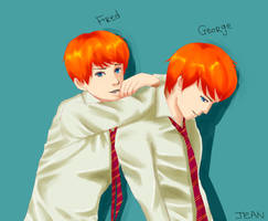 Fred and George Weasley by heliotropejk