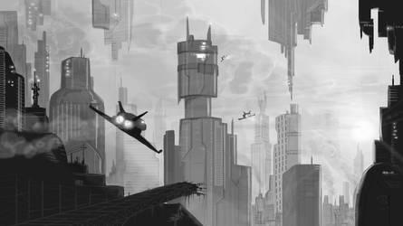 sci-fi city by master-of-dizazter