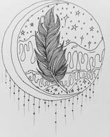 Midnight Feather Outline by PixieGroveStudios