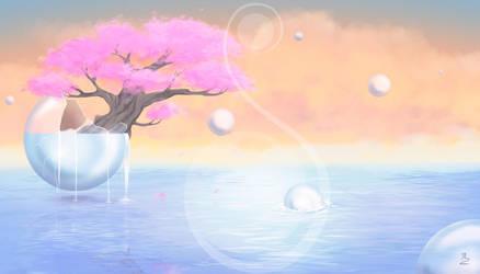 Fantastic bubbles landscape by Michiyo63