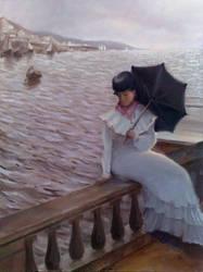 woman with umbrella by AndriyMarkiv