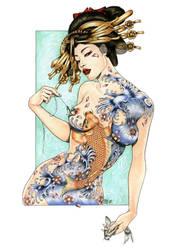 GEISHA WITH KOI CARP by Zoe-Lacchei