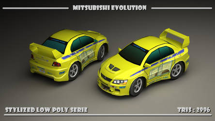 Stylized low poly Mitsubishi Evolution by LuckyCat82