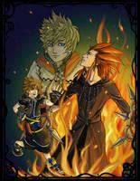 Axel+Roxas+Sora by animatey