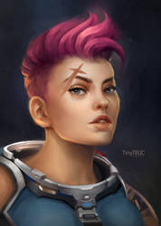 Zarya Portrait - Overwatch fan art by TinyTruc