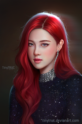 Rose Black Pink Portrait by TinyTruc