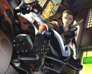 Bikergirl Samurai by ncrow