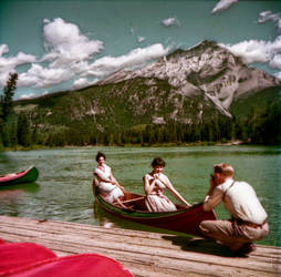 Found Image 002    Canoeing on Bow River at Banff by fleetofgypsies