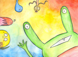 Lily the Green Monster and her friends by luartandcomics