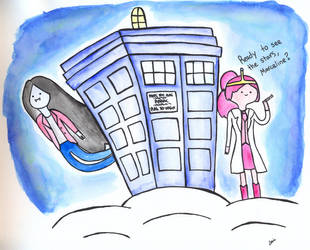 Princess Bubblegum, Marceline and the TARDIS by luartandcomics