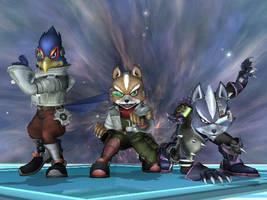 SSBB - Fox, Falco, Wolf by Zakca