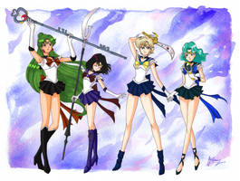 Outer Senshi: Pluto, Saturn, Uranus and Neptune by VortexOfSaturn