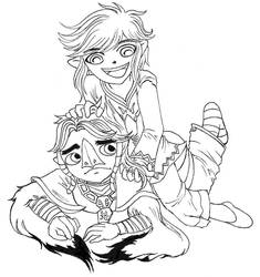 link and komali lineart by kristalwaterfairy