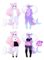 Holographic Shark Gorls [closed/pending payment] by PastelBits
