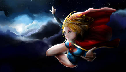Fly to the moon - Supergirl Wallpaper by Erickson777