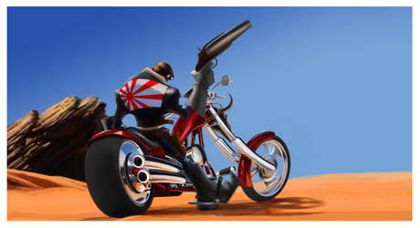 Atomic Jimbo on a bike by KEGO44
