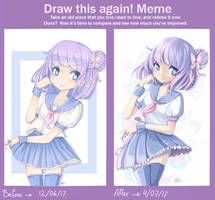 Before and after meme [Pastel girl] by MimiChair