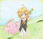 Meliodas and his cute companion [COMM] by MimiChair