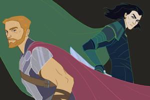 Thor and Loki Ragnarok by gavorche-san