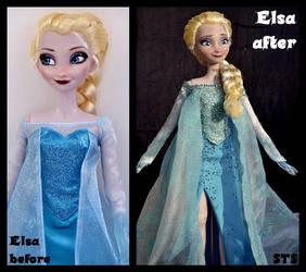 repainted ooak singing snow queen elsa doll. by verirrtesIrrlicht