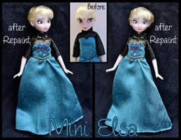give-away repainted ooak mini elsa doll. by verirrtesIrrlicht