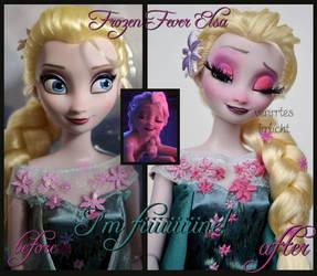 repainted ooak frozen fever sick elsa doll. by verirrtesIrrlicht