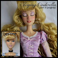 repainted ooak sleeping cinderella doll. by verirrtesIrrlicht