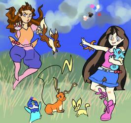 Aerelina and Sakura Ketchum by NiveusSol