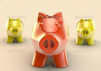 Red piggybank on a group by oilusionista-stock
