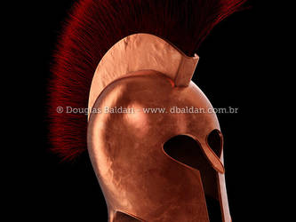 Hoplite Spartan helmet infantary isolated on white by oilusionista-stock